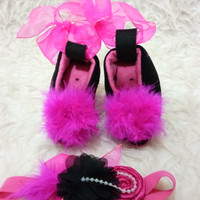 Jual Baby High Heels Sha-7u/ sepatu high heels bayi Sha-7u set bandana Murah