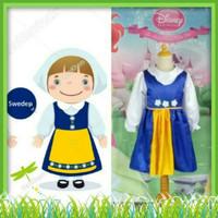 Kostum Anak Perempuan Baju Tradisional Negara Swedia Size 8-12 Tahun