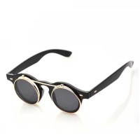 A28 Flip-up Steampunk boboho vintage sunglasses kacamata import Matt
