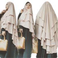 Hijab Jilbab Khimar Syari Jumbo Kinari 3 Layer / Grosir Jilbab Syari