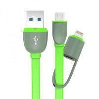 Kabel USB 2 in 1 Lightning & Micro USB Untuk Android / iOS 11 - hijau