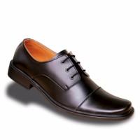 TK017 - Sepatu Pria Pantofel Kulit Formal Kerja Kantor Hitam Original
