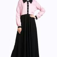 Baju Muslim Wanita Terbaru Gamis Fashion Kombinasi Warna Plus Hijab