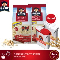 [Free 2 Food Container] Quaker Instant Oatmeal Medium 600gr - 2 Pcs