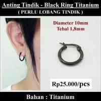 Anting Tindik Cowok Pria - Black Ring Titanium