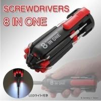Obeng 8 in 1 Senter Lampu LED Multifungsi Perkakas Screwdrivers Trav