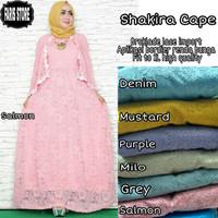 Long dress maxi wanita muslim brokat lace gaun pesta shakira cape