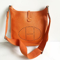 Tas Hermes Evelyne Orange Epsom PM Stamp N Ros