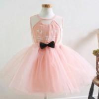 dress pink gaun pesta anak bayi perempuan 6 tahun baju dres baby gilrl