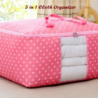 3 In 1 Cloth Organizer Pink Polka 1 Set Isi 3 Pcs Ukuran Berbeda Ter