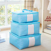 Ds / 3 in 1 Cloth Organizer BIRU POLKA (1 set isi 3 pcs ukuran