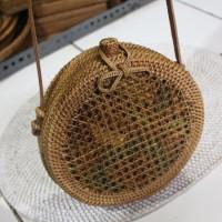 Tas Rotan /Ratan Bag Bulat motif Jaring Murah