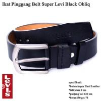 Ikat Pinggang Kulit Belt Gesper Pria Super levi black obliq