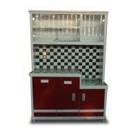 Rak Piring Kayu Magic Com 3 Pintu Keramik CBJ113 - Motif Catur