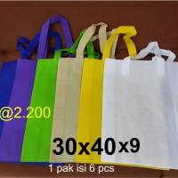 Goodie bag / Tas spunbond lipat samping 30 x 40