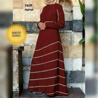 busana muslim maxi stripe simpel gamis baju lebaran remaja w T2909