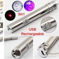 Senter 3 in 1 Mini Multifunction LED Laser UV Rechargeable