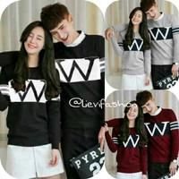 couple wonder dc set 2in1 cp fashion wanita pria pasangan sweater