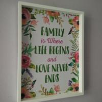 Jual Hiasan dinding lukisan wooden poster quote family is where life begins Murah