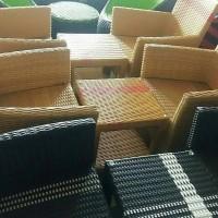 Kursi Meja Ruang Tamu  Anyaman Rotan Sintetis Minimalis 2 kursi 1 meja