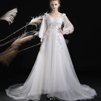 long dress of white gaun pesta lengan panjang baju pesta import