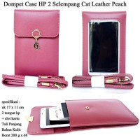 Dompet Case Hp 2 Cat Selempang Kulit peach