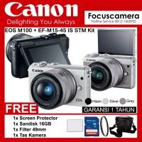 kamera Canon EOS M100 Lens Kit 15-45mm - Screen - 16Gb - Filter - Tas