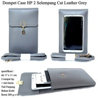 Dompet Case Hp 2 Cat Selempang Kulit grey