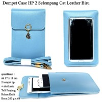 Dompet Case Hp 2 Cat Selempang Kulit blue