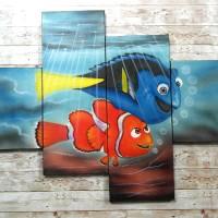 Lukisan Kartun Ikan Finding Nemo/Hiasan Dinding/Kamar Anak/Dekoratif