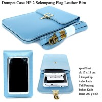 Dompet Case Hp 2 Flag Selempang Kulit blue