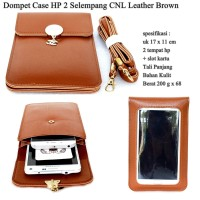 Dompet Case Hp 2 CNL Selempang Kulit brown