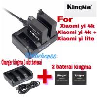 kingma charger 3 slot + 2 baterai kingma for xiaomi yi 4k / lite