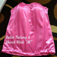 "Bustier Satin Tulang 8 ""shock pink M"" - Ready Stock Promo"