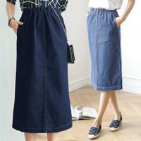 (#6009)Hyorin Denim skirt/Rok midi/Rok Jeans/Rok banding/Rok H line