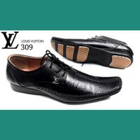 Sepatu Formal Pria - LOUIS VUITON 309 black - Super - Kulit Asli