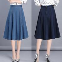 (#6130)Sunny Flare Denim Skirt/Rok Midi/Rok Jeans/Rok Denim