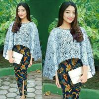 Setelan Kebaya Brukat/Brokat/Lace Modern Combi Rok Pencil Batik Cantik