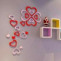 Jual 3D wall stiker hiasan dinding bentuk love dari kayu aneka warna Murah
