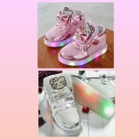 Sz 21-30 Sepatu Anak Lampu Led Import Model Hello Kitty Ribbon