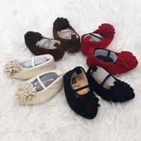 Sepatu Pesta Prewalker Shoes Anak Bayi Perempuan Bludru Bunga