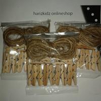 Paket Ceban 10pcs wooden clip 3,5cm dan tali rami 3 meter
