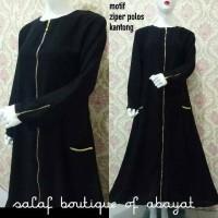 Abaya ziper polos with kantong gamis arab abaya hitam gamis hitam