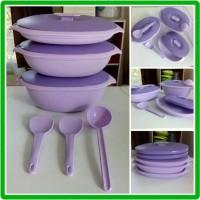 gift kado pernikahan serving set tempat makanan plum purple Tupperware