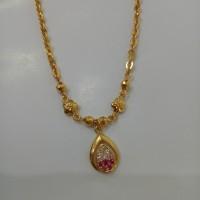 kalung emas asli kadar 700 model oval merah putih MURAH