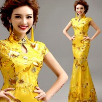 Cheongsam Qipao Long Maxi Dress Duyung Brukat Payet Gaun Pesta Import