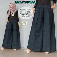 celana kulot wanita black jumbo jeans muslim trendi lucu unik keren