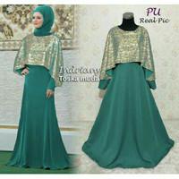 Baju Pesta Muslim Syari XL Indri/Dress Gamis Cape Mewah (No Pashmina)