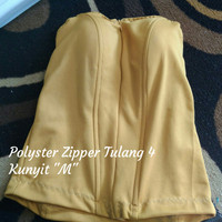 "Bustier Polyster Zipper Tulang 4 ""Kunyit M"" - Ready Stock Promo"