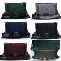 Chanel Boy Velvet   tas wanita   tas branded   tas import
